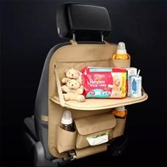 차량용 뒷좌석 가죽 시트백 멀티포켓 수납 정리함 테이블