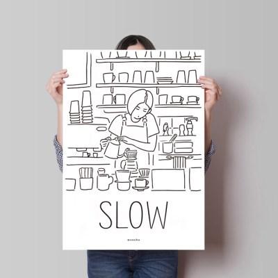 슬로우 커피 M 유니크 인테리어 디자인 포스터 카페 핸드드립