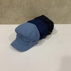 데님 기본 심플 챙넓은 데일리 헌팅캡 마도로스 모자