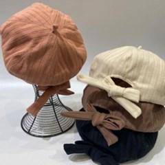 뒷리본 세로줄 데일리 꾸안꾸 패션 베레모 모자