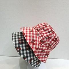 체크 꽃무늬 플라워 패션 챙넓은 버킷햇 벙거지 모자