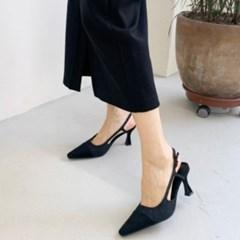 여성 스웨이드 앞코 포인트 슬링백 로우힐 DONA 6200