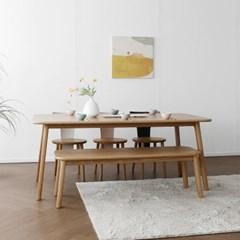 [오크] N6형 식탁/테이블 세트 : 화이트오크 1800_(1696354)