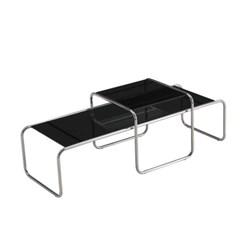 디자인 스틸 테이블 MG135 라지/강화유리상판