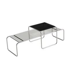 디자인 스틸 테이블 MG135 스몰/강화유리상판