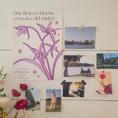 'Winter Blooms' Color Poster (Purple)