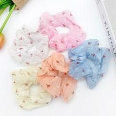 [5개세트] 봄꽃 플라워 스크런치 곱창 머리끈+도넛츠 패키지