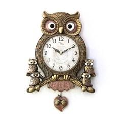 (kspz353)저소음 아콘부엉이 시계 (골드)_(1506149)