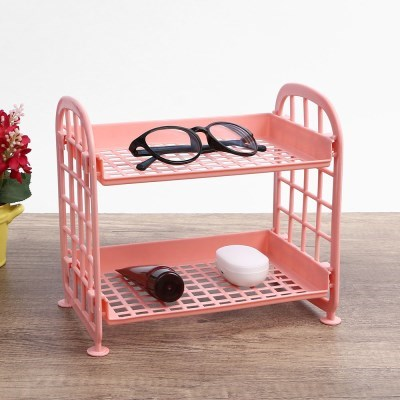 테이블 정리 2단 미니 선반 화장품 정리대 핑크