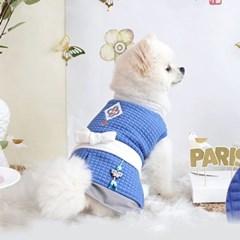 애완견 명절 보이즈 한복 네이비 강아지 개량 한복
