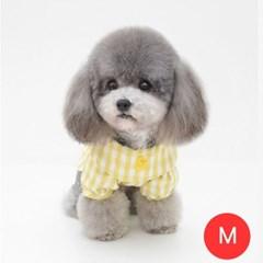 체크노랑오리 강아지 셔츠 모자미포함 옐로우 M