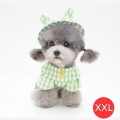 체크노랑오리 강아지 셔츠 모자포함 그린 XXL