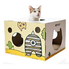 고양이 스크래쳐 카툰 몬스터 하우스 (옐로우)_(764490)