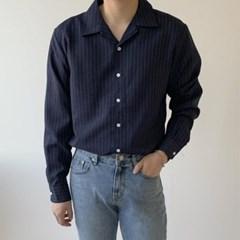 봄 남성 루즈핏 오픈카라 스트라이프 긴팔 셔츠남방