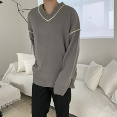 봄 남성 오버핏 V넥 삥줄 라인배색 박시 롱니트티