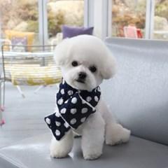 강아지 도트 누빔 목도리 네이비 애견 겨울 스카프