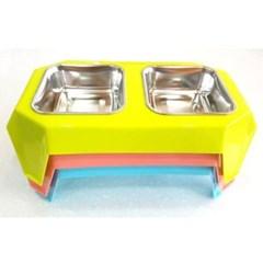애완 동물 테이블 사각 식기 결림 방지 2구 그릇 식탁