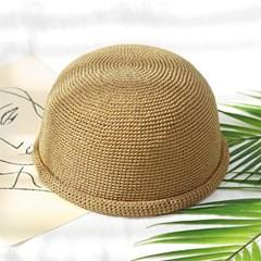 남자 여자 여름 캐주얼 라탄 롤업 비니 와치캡 모자