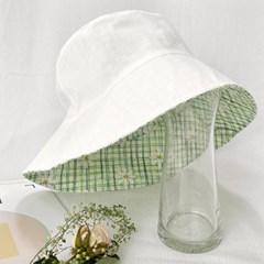 여자 데이지 플라워 산뜻한 체크 리버서블 벙거지 모자