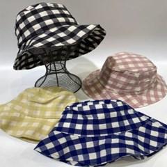 체크 데일리 꾸안꾸 챙넓은 패션 버킷햇 벙거지 모자