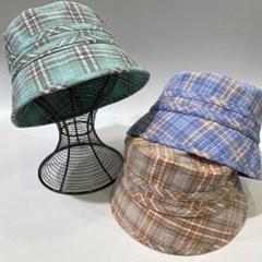 두줄 체크 깊은 대두 꾸안꾸 버킷햇 벙거지 모자