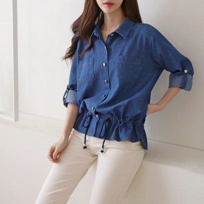 여자 봄 카라넥 허리밴딩 청남방 데님 셔츠