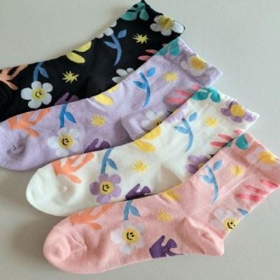 꽃무늬 플라워 중목 긴 데일리 학생 패션 양말