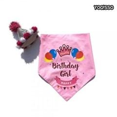 강아지 고양이 생일 고깔 핑크 세트 파티 용품 이벤트