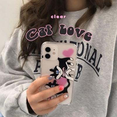 [뮤즈무드] cat love (clear) 아이폰케이스