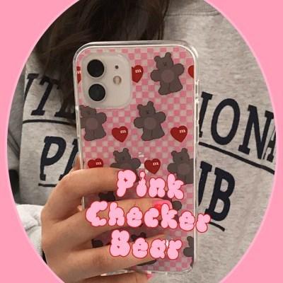 [뮤즈무드] Pink Checker Bear (clear) 아이폰케이스
