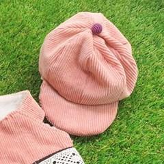 코듀로이 레이스 모자 - 핑크