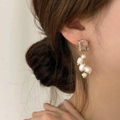 [귀찌가능] 볼드 크리스탈 천연 담수진주 웨딩 귀걸이