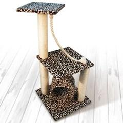 고양이 호피무늬 미니캣타워 고양이 2단캣타워
