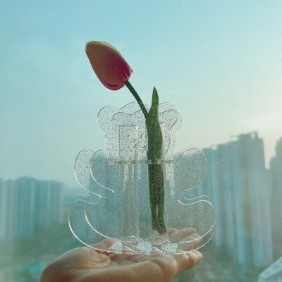 Glitter Bear Acrylic Vase 글리터 펄 아크릴화병