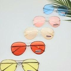 둥근 가벼운 도수없는 옐로우 데일리 패션 선글라스