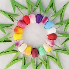 튤립 조화 부케 꽃 장식 인테리어 플랜테리어(9color)_(1242093)