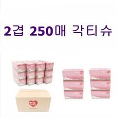곽티슈 2겹 국산 각티슈 무형광 미용휴지 250매