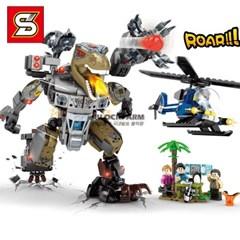 SY조립블럭 레고호환 쥬라기 공룡 로봇 추격전 초등생일선물 1513