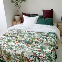 MONKEY LINEN SPREAD - WHITE