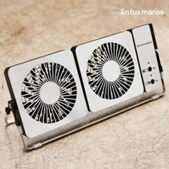 [엔뚜마노] 더블 스퀘어 무선 메탈 탁상용 휴대용 선풍기 EM-R400WF