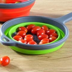 물빠짐 손잡이 접이식 채반 과일 야채 소쿠리