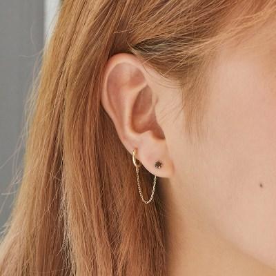 14K 멀티 체인 링 귀걸이 (한쪽)