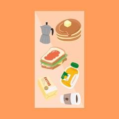 아침식사 리무버블 스티커