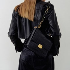 Brick square bag (Croc black)