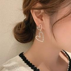 코지 더블하트 여성 은침 귀걸이_(2542267)