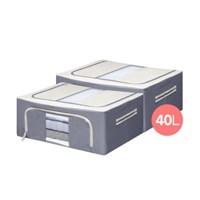 콤마 EO 목재 패브릭 정리함 40L 2개