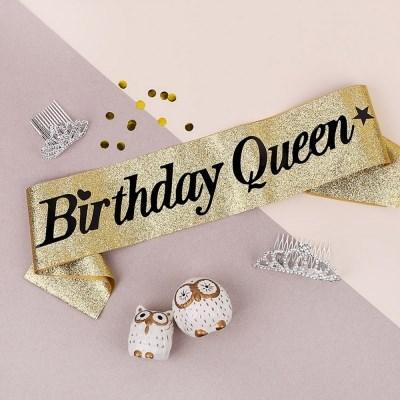 글리터 생일어깨띠 Birthday Queen 글리터골드