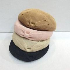 리본 기본 심플 아이보리 데일리 패션 베레모 모자