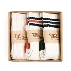 VIN TENNIS SOCKS SET (ivory/orange/green)