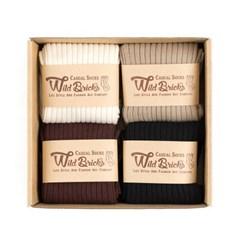 LW COTTON RIB SOCKS SET (ivory/beige/brown/black)